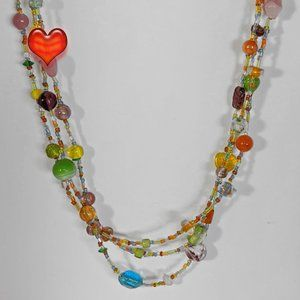 Jewelry - Bright Colorful 3 Strand Glass Beaded Necklace